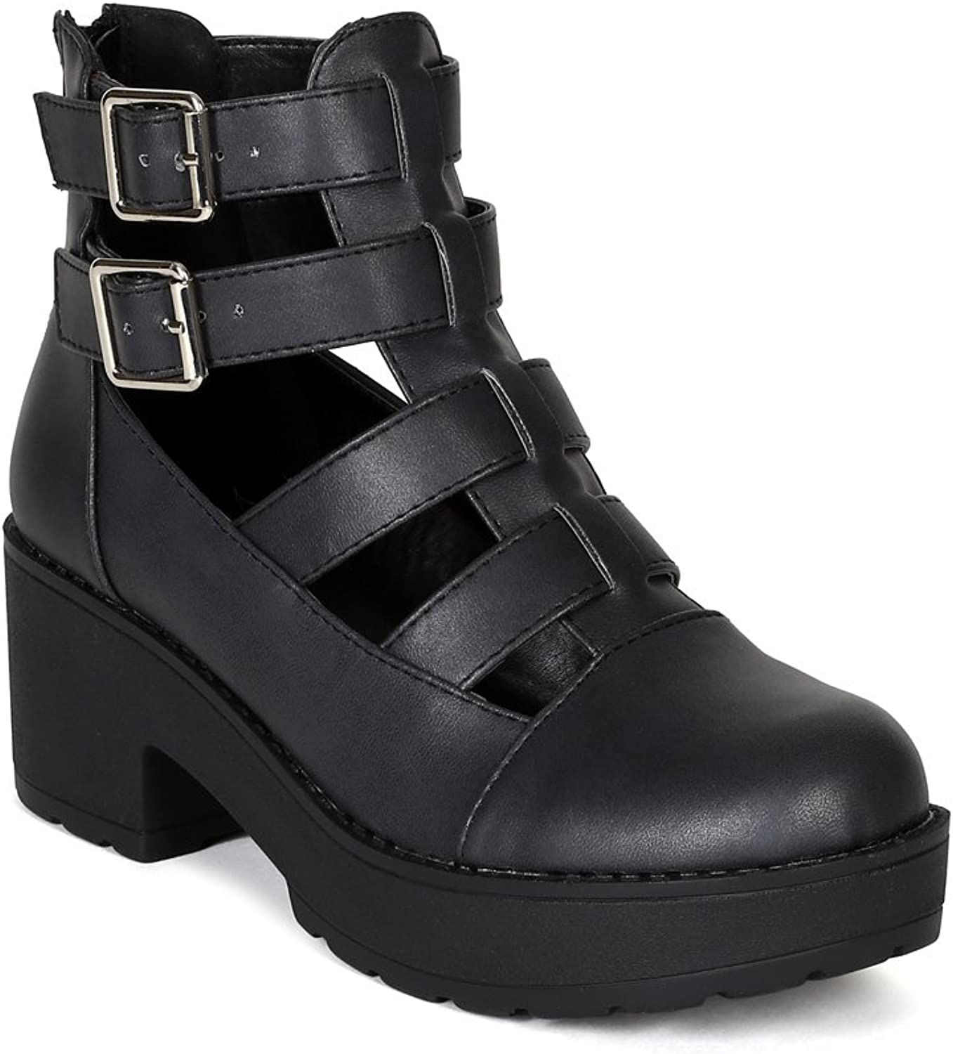 Qupid Selfie-01 Womens Faux Leather Gladiator Strappy Ankle Bootie