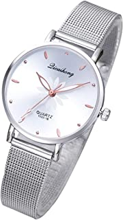 Hemobllo Women's Watches Luxury Dress Fashion Gorgeous Small Quartz wristwatches mesh Alloy Bracelet(White)