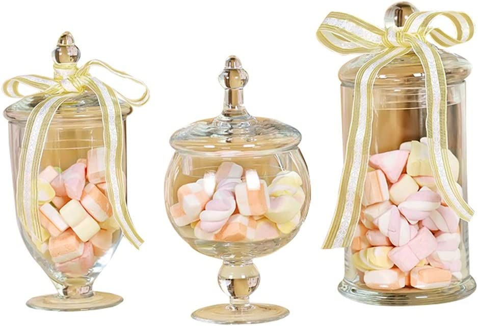 AI XIN Set of 3 Clear Decorative Apothecary Many popular brands Arlington Mall Weddings Jars Glass