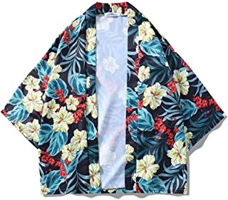 Qiyun Autumn Shirt Men Women 3/4 Sleeve Shirt Lovers Loose Kimono Vivid Flower Printing Outerwear