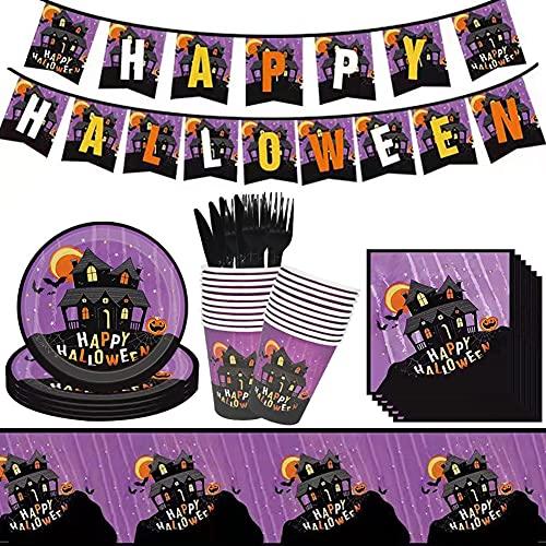Babioms 62pcs Halloween Party Stoviglie, Piatti di Carta, Bicchieri di Carta, Coltelli e Forchette, Asciugamani di Carta, Tovaglie, Bandiere, Set di Stoviglie a Tema Halloween - 10 Persone