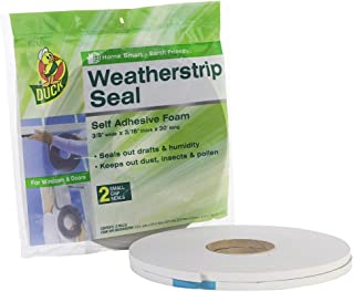 Duck Brand Self Adhesive Foam Weatherstrip Seal for Small Gaps, 3/8-Inch x 3/16-Inch x 30-Feet, 2 Rolls, 284427,White