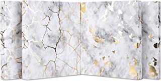 WanXiang Gold Marble 3 Ring Binders, 1 Inch Rounds Ring, 4 Pack