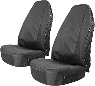 TIROL Water Resistant Universal Front Seat Covers for High Back (Pack of 2) Universal Seat Protectors with Multi-Pockets Organizer for Storage