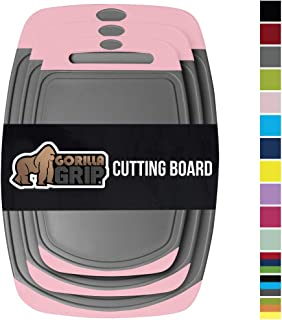 Gorilla Grip Original Reversible Cutting Board, 3 Piece, BPA Free, Juice Grooves, Larger Thicker Boards, Easy Grip Handle, Dishwasher Safe, Non Porous, X Large, Kitchen, Set of 3, Pink Gray