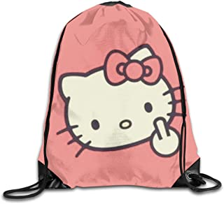 LIUYAN Drawstring Backpack Hello Kitty Fuck Rucksack Shoulder Bags Sport Gym Bag for Men Women