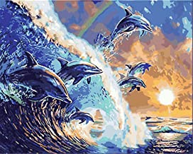 Painting by Numbers DIY Oil Painting for Adult Sea Waves, A Group of Jumping Dolphins, Animals Canvas Print Wall Art Decor...