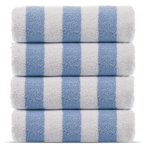 Premium Quality 100% Cotton Turkish Cabana Thick Stripe Pool Beach Towels 4-Pack (Light Blue, 30x60 Inch)
