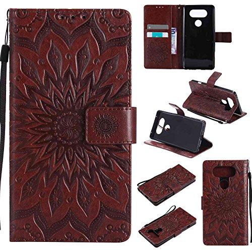 pinlu® PU Leder Tasche Etui Schutzhülle für LG V20 Lederhülle Schale Flip Cover Tasche mit Standfunktion Sonnenblume Muster Hülle (Braun)