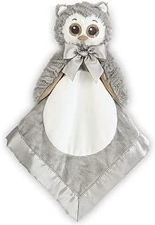 Bearington Baby Lil' Owlie Snuggler, Gray Owl Plush Stuffed Animal Security Blanket, Lovey 15