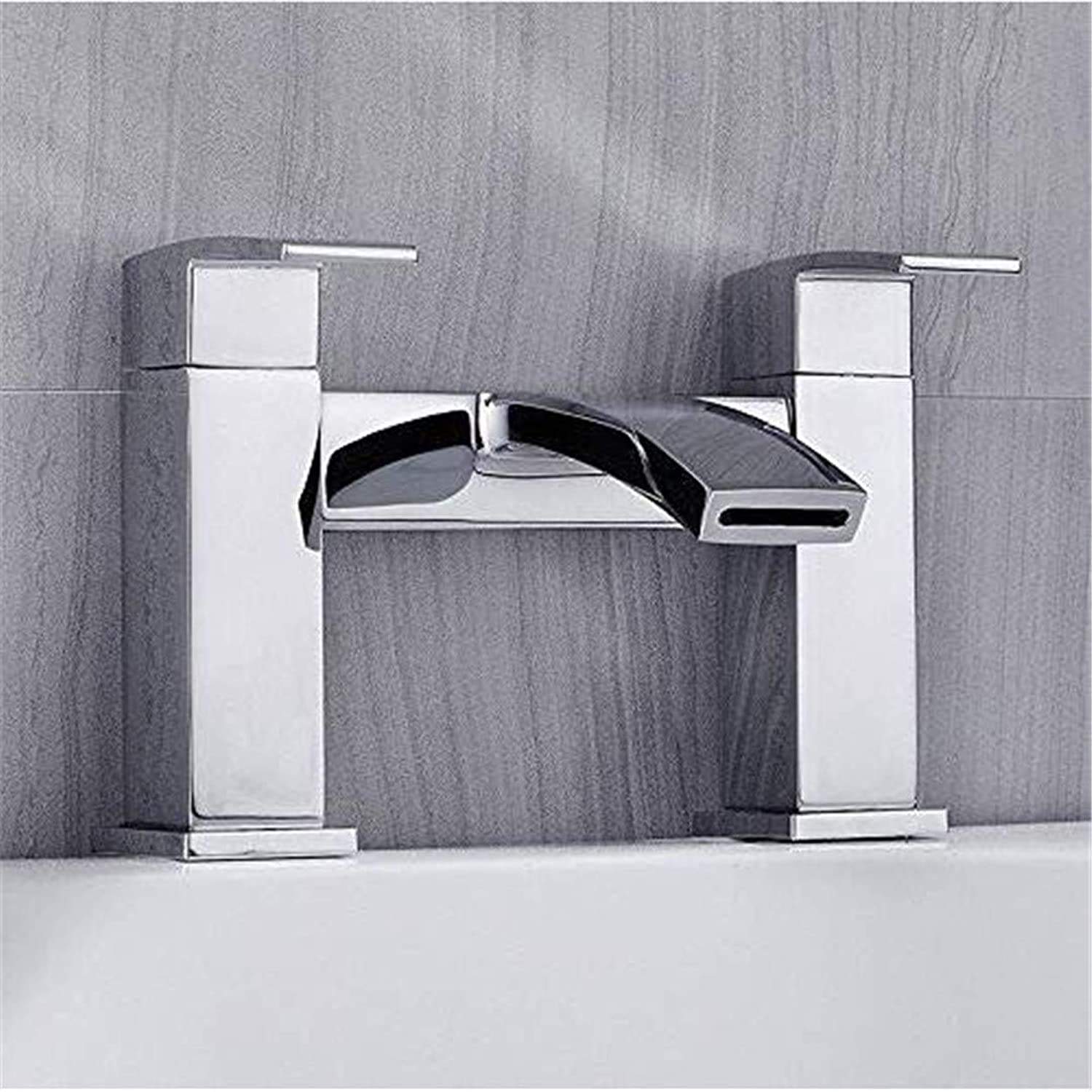 Oudan Faucet Basin Faucet Kitchen Faucetbathroom Sink Tapluxury Bath Bathroom Square Shower Faucet Mixer Tap with Shower Waterproof Shower Faucets Tub Chrome (color   -, Size   -)