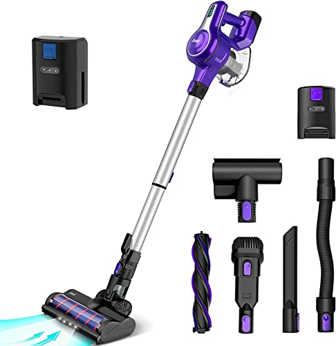 2021 INSE Cordless Vacuum Cleaner, 23Kpa 250W Brushless Motor Stick Vacuum, outlet sale Up to 45 Mins Max Runtime 2500mAh Rechargeable Battery, 10-in-1 Handheld for 2021 Carpet Hard Floor with an Extra Battery, Purple outlet online sale