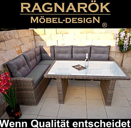 Ragnarök-Möbeldesign DEUTSCHE Marke - EIGNENE Produktion 8 Jahre GARANTIE auf UV-Beständigkeit PolyRattan Gartenmöbel Tisch + Dinning Lounge - 4