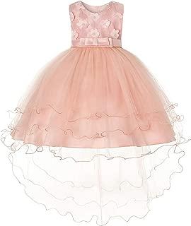 JOYMOM Girls Flower Embroidery Ruffles Party Wedding Dresses Kids Ball Gown