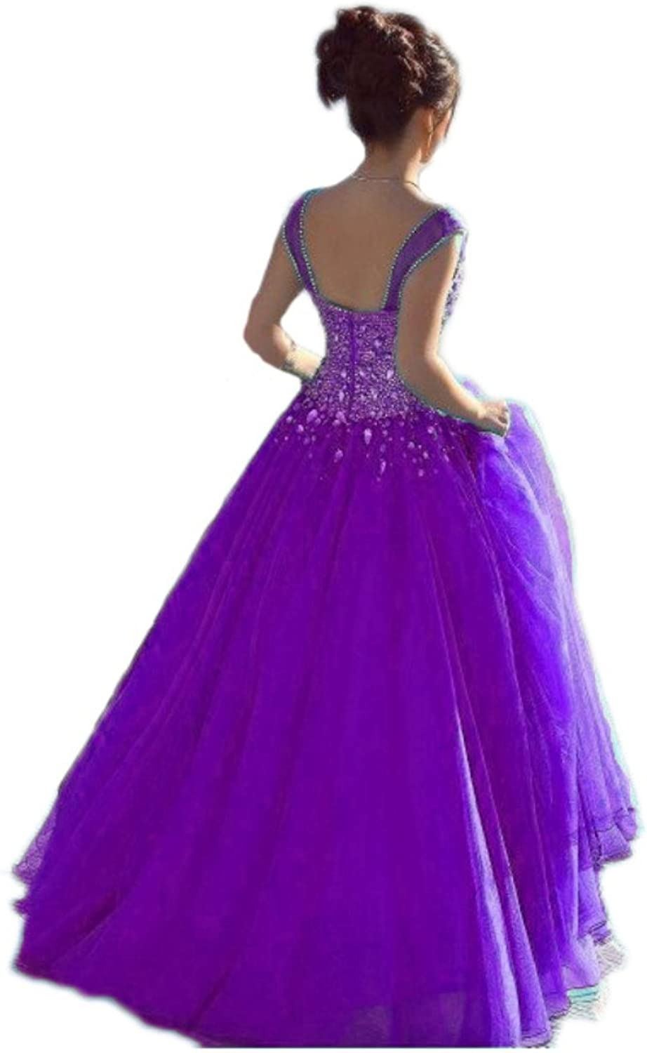 Beilite Women's Spaghetti Crystals Ball Gown Tulle Long Prom Quinceanera Dresses
