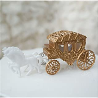 Unbranded Royal Vintage Cinderella Horse and Carriage Coach Cake Topper Gold & White