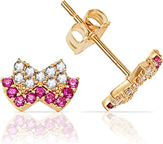 14k Solid White or Yellow Gold Bow Tie Stud Earrings with CZ