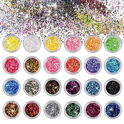 Belle Glitter Chunky Sparkle Glitter per Corpo Viso Occhi Unghie Capelli per musica Festival Masquerade Halloween Party 24 Colori