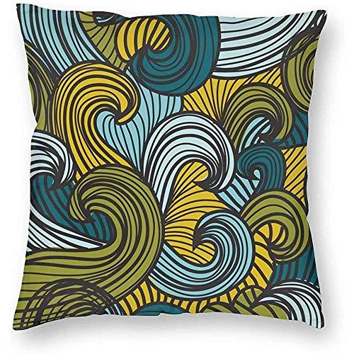 Eliuji Kissenbezug Kissenbezug Sofa Kissenbezug, Bettwäsche weich und bequem, 45x45cm, Elegantes Muster mit dekorativen Wellen