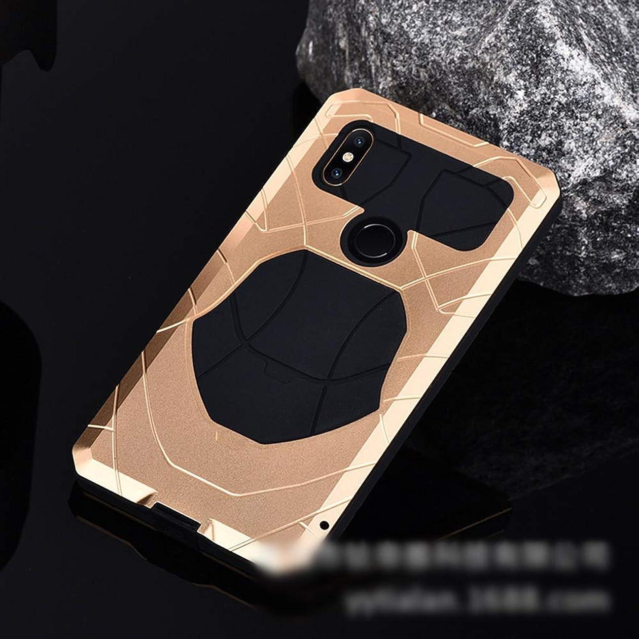 世代繊細ずっとTonglilili Xiaomi Mix2、Mix、Max2、Max3、Mix2S用の3つのアンチ携帯電話シェル新メタルシェルモデル飛散防止保護カバー電話ケース (Color : ゴールド, Edition : Mix2)