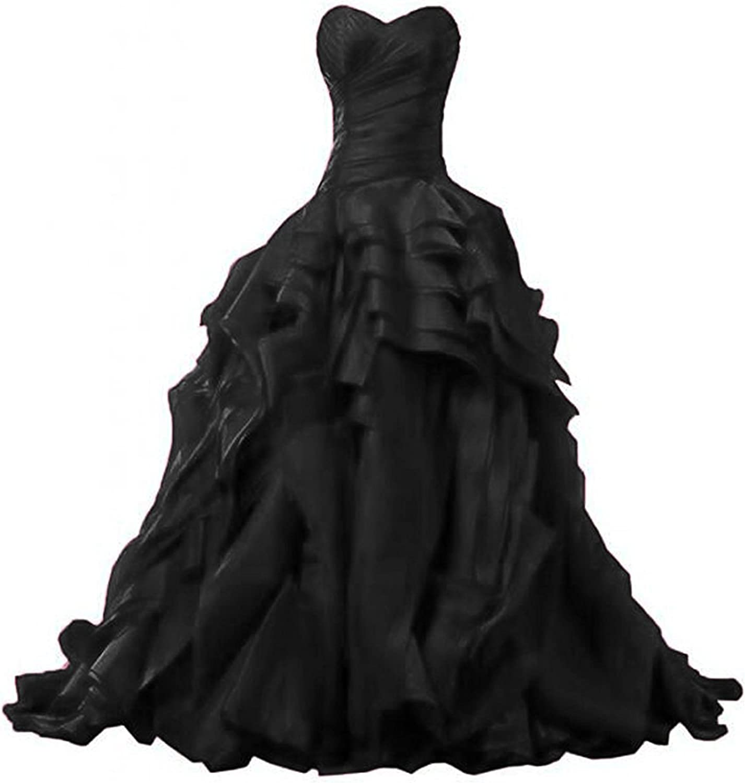 Ellystar Women's Sweetheart Sleeveless New Laceup Ruffles Formal Party Dresses