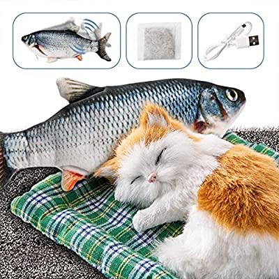 DazSpirit Fish Toys Moving Fish Toy for Cat - Catnip Included, USB, Washable, Interactive 28cm Indoor Kitten for Biting, Chewing and Kicking (black)