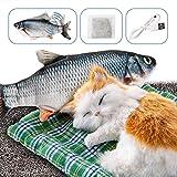 DazSpirit Juguete Pez para Gato - Catnip Incluido, Eléctrica Juguete Interactivo Fish Toys, USB, Lavable, Juguetes de Gatito de Interior De 28cm (Negro)