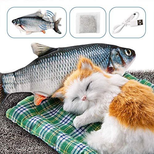 Dazspirit Giocattolo per Pesci in Movimento per Gatto - Catnip Incluso, USB, Lavabile, Giocattoli per Gattini da Interno da 28cm (Nero)