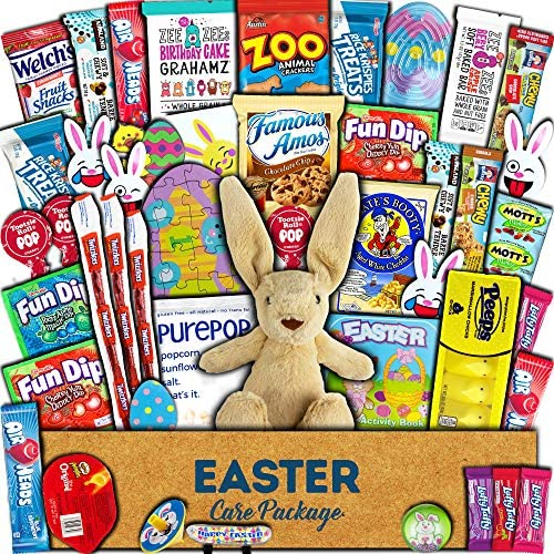 Easter Care Package 45ct Candy Snacks Toys Plush Bunny Chocolate Cookies Gift Box Bundle Basket product image