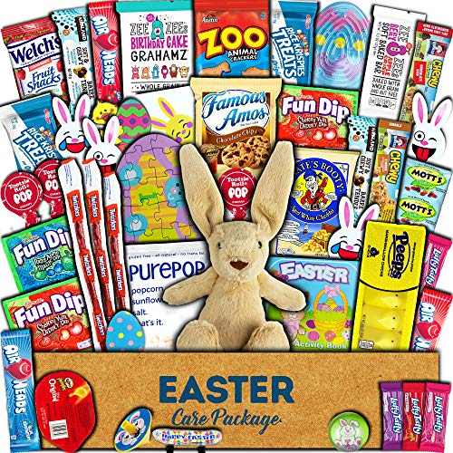 Easter Care Package (45ct) - Candy, Snacks, Toys, Plush Bunny, Chocolate Cookies - Gift Box Bundle Basket Fillers Stuffers Present - Kids, Adults, Boys, Girls, College Student, Child, Grandchildren, Toddlers
