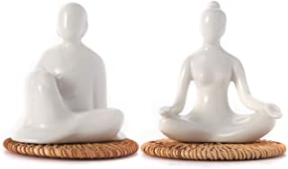 FanChose Decoración del hogar Porcelana de cerámica meditación Postura de Yoga Adornos de cerámica Alfombrilla Antide...