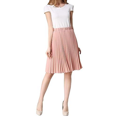 186973ba08 WEHOPS Chiffon Pleated Skirt for Women Junior/Girls Knee Length Midi Skirts  A-line