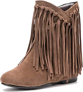 80d6fa37e981 fereshte Women's Fringe Hidden Wedge Heel Ankle Boots Tassels Cutout Summer  Sandal Bootie