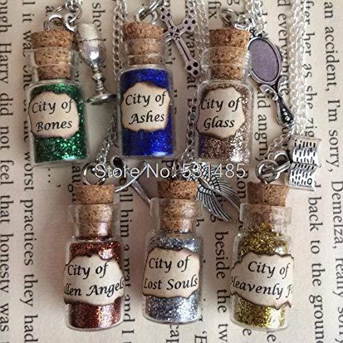 Halskette Ohrringe Schmuck Set Kette Stadt der Knochen Asche Glasflasche Halskette Anhänger inspiriert die Mortal Instruments Silber Ton Schmuck (Main Stone Color : City of Ashes)