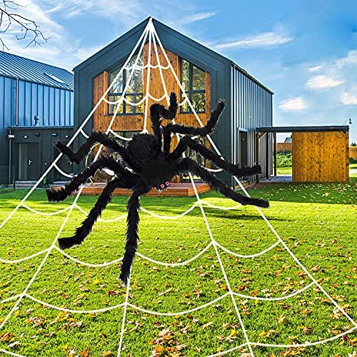 Halloween Decorations Outdoor Spider Decoration – 200″ Halloween Spider Web 49″ Giant for Indoor Outdoor Outdoor Halloween Decorations – Scary Spider Decorations Set