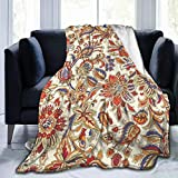 Ornament Doodles Colorful Ethnic Flowers Flannel Fleece Throw Blanket All Season Soft and Warm Couch Sofa Bed Blanket for Kids Or Adults 50X40 Inch