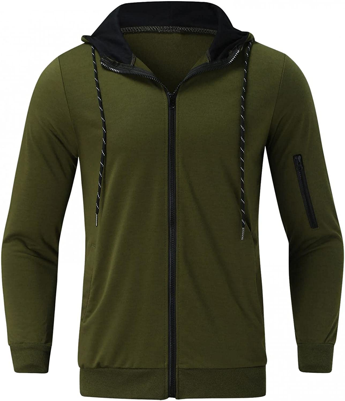 Hoodies for Men Slim Casual Cardigan Top Mens Zip Up Hoodies Long Sleeve Drawstring Sports Fashion Hoodies & Sweatshirts