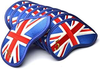 GOOACTION Golf Iron Head Covers 9Pcs/Set USA America Stars and Stripes Flag/British UK Flag Pattern Golf Club Iron Headcovers