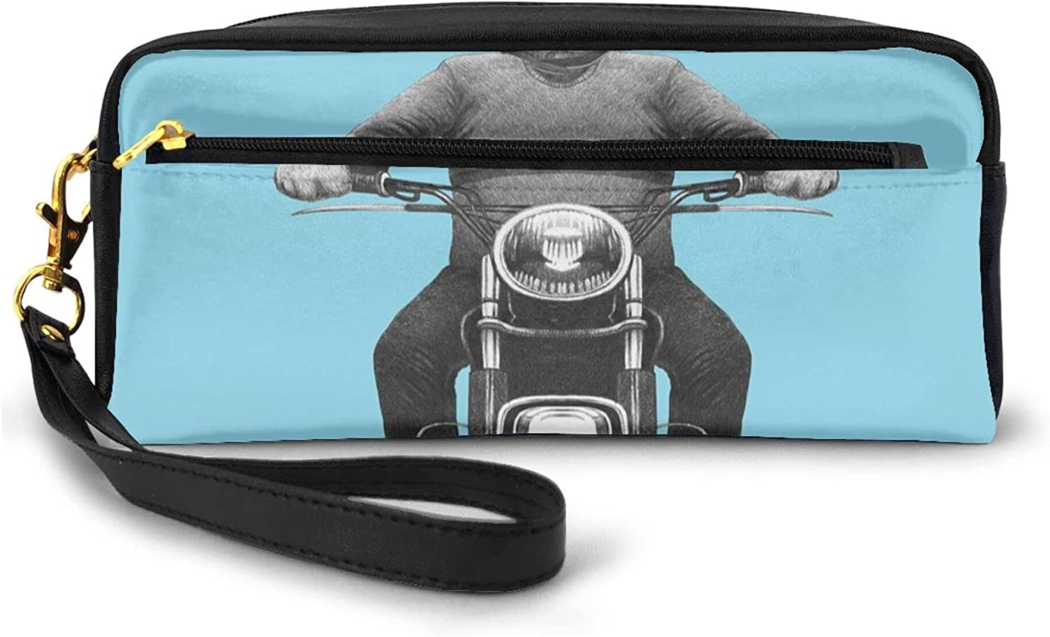 Double Zipper Large Make Up Bag,Dog Breed Riding Motorcycle Adventurous Scooter Hard Hat,Pencil Stationery Storage Pouch Bag Case