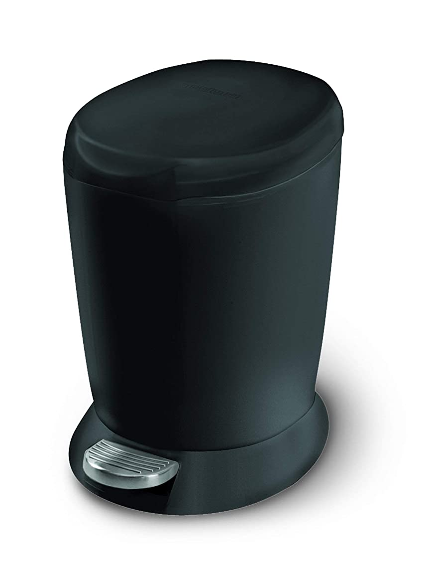 simplehuman 6 Liter / 1.6 Gallon Compact Plastic Round Bathroom Step Trash Can, Black Plastic