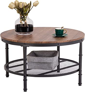 "Bonnlo 31.5"" Industrial Coffee Table for Living Room 2-Tier Vintage Round Coffee Table with Metal Storage Shelf"