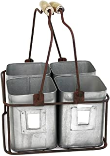 """Colonial Tin Works Metal Four Tin Organizer with Handles, 9"""" x 9"""" x 5½"""" """", Galvanized Gray Green Rust"""