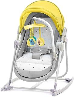 Kinderkraft Babywippe UNIMO 5 in 1, Babyschaukel, Wippe, Schaukelwippe, Wiege, Spielbogen, Spielzeugen, Liegeposition, Klappbar, Bügel mit Spielzeug, Moskitonetz, Gelb