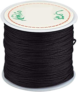 0.8mm Nylon Cord, Thread Chinese Knot Macrame Rattail Bracelet Braided String (Black)