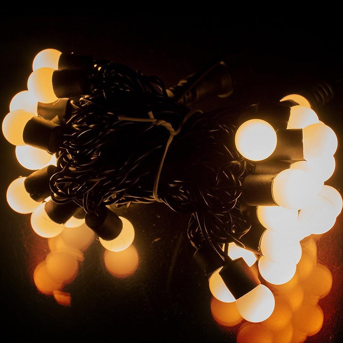 革命的ガムくしゃみ電光ホーム イルミネーション カラーボール ボール型 [ 16パターン 点灯 ] 屋外 防水 防雨 クリスマスツリー ハロウィン DIY 5m LEDライト 50球 (ウォームホワイト)