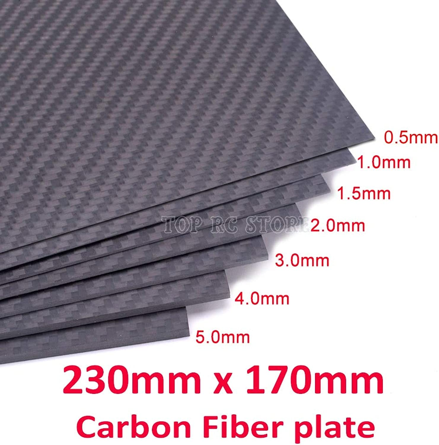 Laliva 230mm x 170mm 3k Carbon Fiber Plate Panel 0.5mm 1mm 1.5mm 2mm 3mm 4mm 5mm Full Carbon Fiber Plate Panel Sheet for RC FPV Drone - (color  1.5mm Thickness)