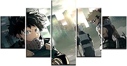 Canvas Paintings Wall Art 5 Pieces Animation My Hero Academia Role Poster Framework HD Prints Pictures Living Room Home Decoration