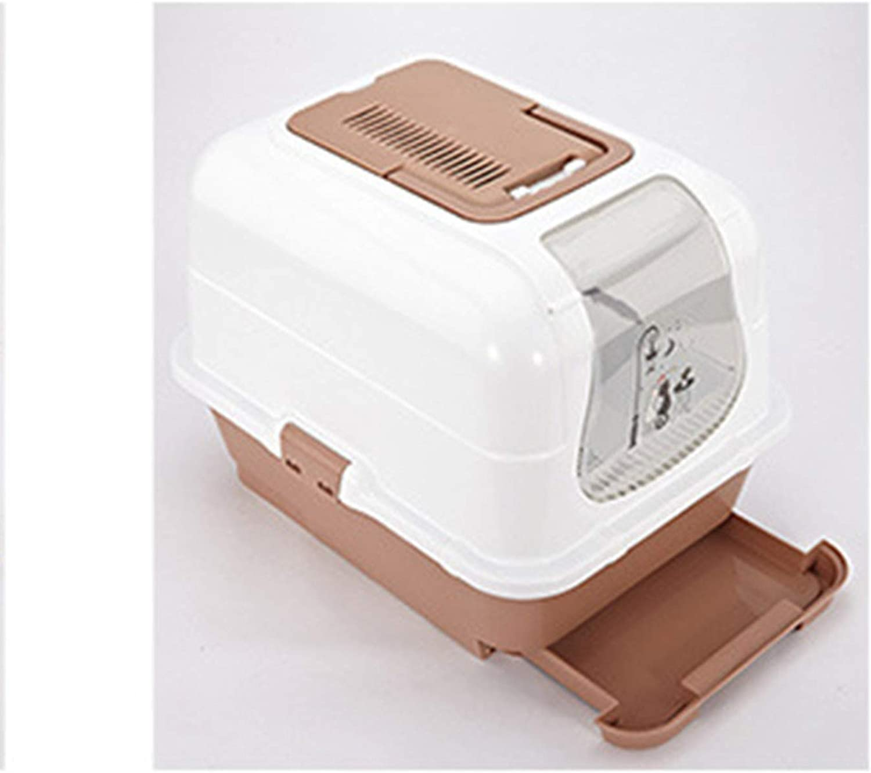 Closed Cat Toilet Large Cat Litter Box Splashproof, Deodorant, Cat Potty Fat Cat 51.5  40  38.5Cm,Brown