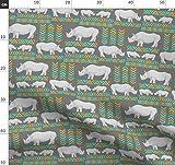 Nashorn, Indigen, Chevron, Muster, Safari, Afrika Stoffe -