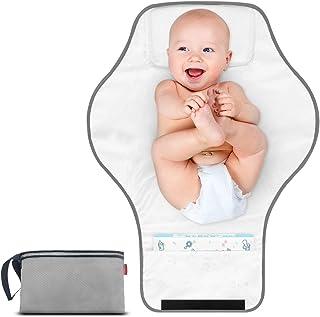 MORROLS Vikbar skötmatta, skötbädd för rese bärbar vattentät skötmatta med huvudkudde hemma och utomhus håll bebisen ren